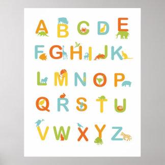 Poster del alfabeto con colores soleados póster