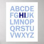 Poster del alfabeto de ABC que dice el HI