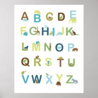Poster del alfabeto en colores terrosos póster