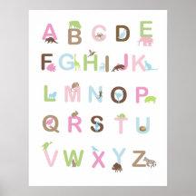 Poster del alfabeto en rosas y marrones