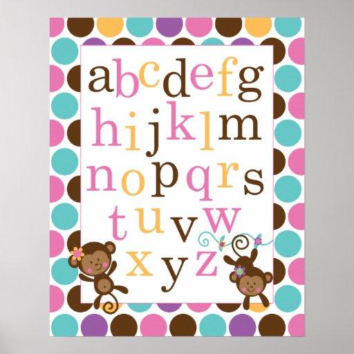 Poster del alfabeto para el mono del rosa del cuar