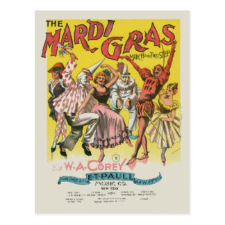 Poster del amarillo del vintage del carnaval tarjetas postales