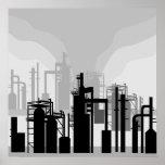 Poster del ambiente de la refinería de petróleo
