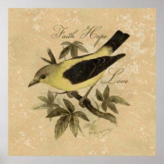 Poster del amor de la esperanza de la fe del pájar