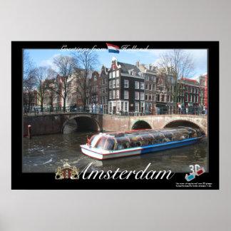 Poster del anáglifo de Holanda Amsterdam 3D