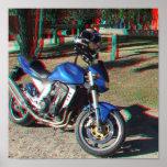 Poster del anáglifo de la motocicleta 3D de Kawasa