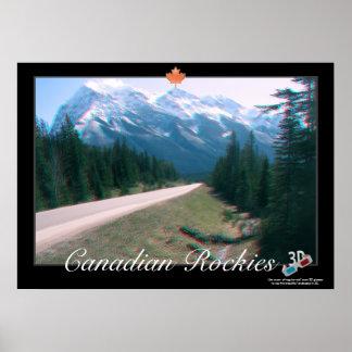 Poster del anáglifo de Rockies 3D del canadiense