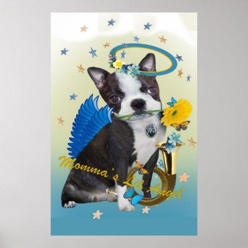 Poster del ángel de Lil de Boston Terrier Momma Póster
