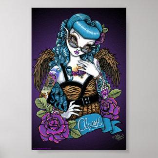 Poster del ángel del tatuaje del bebé del Rockabil Póster