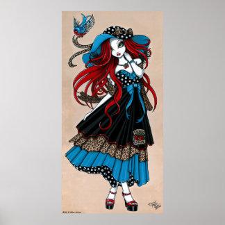 Poster del ángel del tatuaje del trago del Rockabi