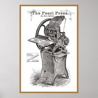 Poster del anuncio de la prensa de copiar de la pe