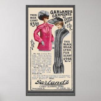 Poster del anuncio de la ropa de la guirnalda del