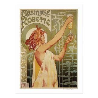 Poster del anuncio del ajenjo de Robette Tarjetas Postales
