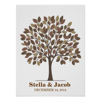 Poster del árbol de la firma del boda - Brown natu