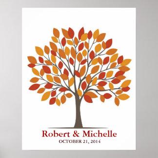 Poster del árbol de la firma del boda - Caída-MED