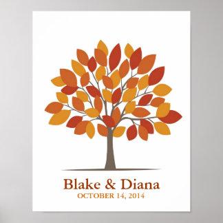 Poster del árbol de la firma del boda - Caída-SM n