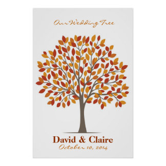 Poster del árbol de la firma del boda - Caída-XL n