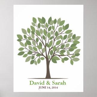 Poster del árbol de la firma del boda - Verde-MED