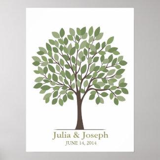 Poster del árbol de la firma del boda - verde natu