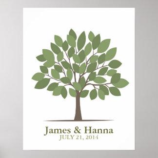Poster del árbol de la firma del boda - Verde-SM n