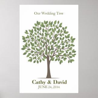 Poster del árbol de la firma del boda - Verde-XL n Póster