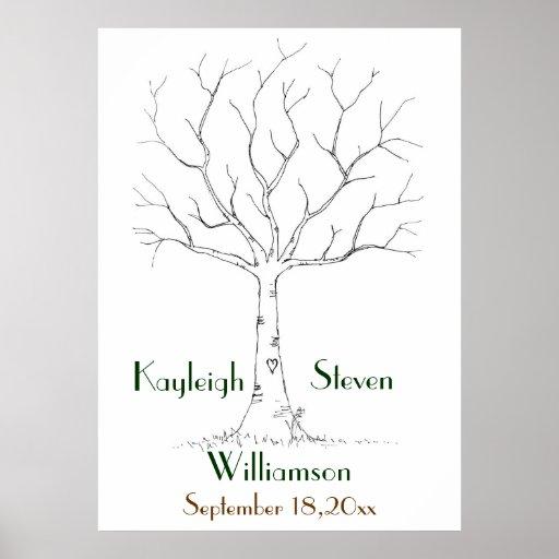 Poster del árbol de la huella dactilar del boda