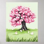 Poster del árbol del flor del conejito