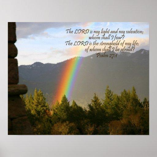 Poster del arco iris con verso cristiano de la