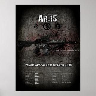Poster del arma del zombi del rifle AR-15