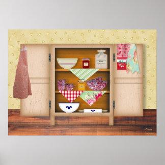 Poster del armario de la cocina del vintage
