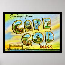 Poster del art déco de Massachusetts de Cape Cod d