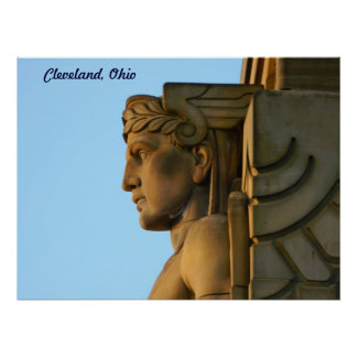 Poster del art déco del puente de Cleveland OH