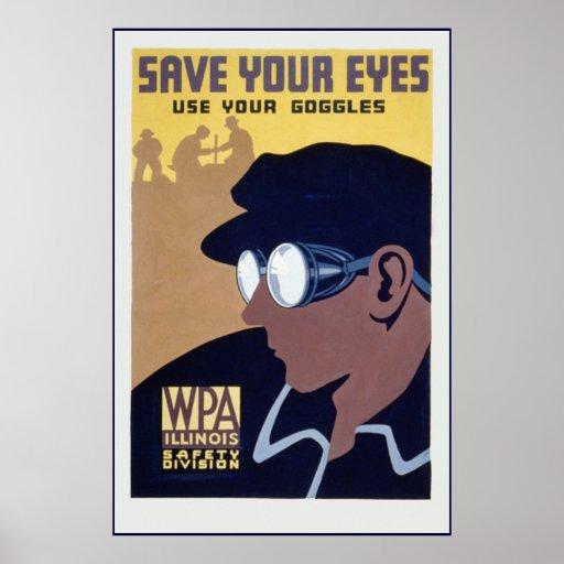 poster del art déco del wpa de las gafas del