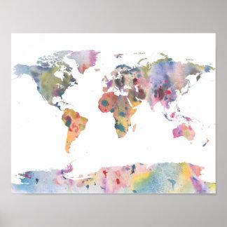 Poster del arte abstracto del mapa del mundo del