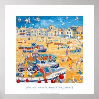 Poster del arte: Barcos y cuerdas, St Ives, Cornua