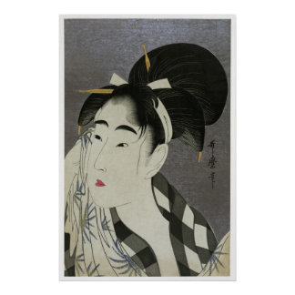 Poster del arte de Ase O Fuku Onna de Kitagawa