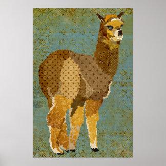 Poster del arte de la alpaca del Grunge del oro