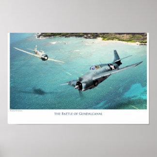 """poster del arte de la aviación """"la batalla de Guad"""