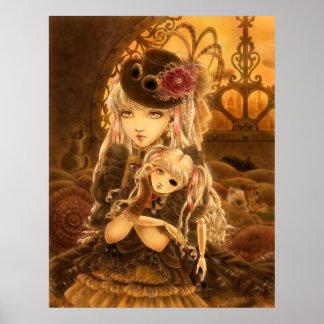 Poster del arte de la fantasía de Steampunk