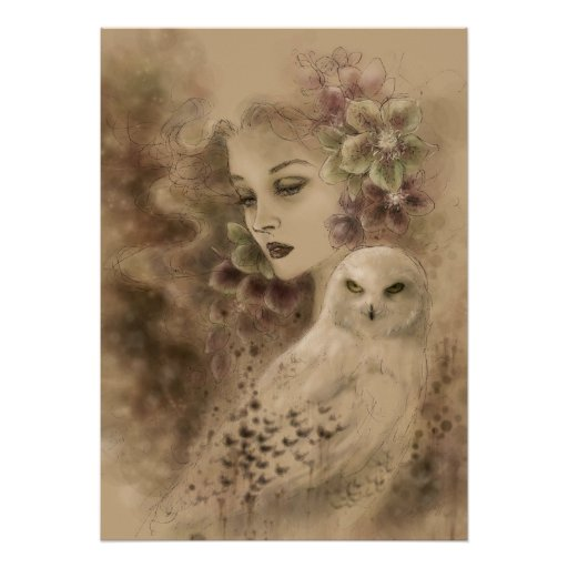 Poster del arte de la fantasía del búho Nevado y d