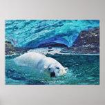 Poster del arte de la fauna del oso polar que nada