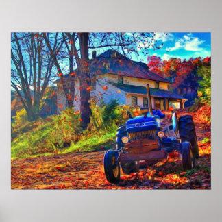 Poster del arte de la granja del país