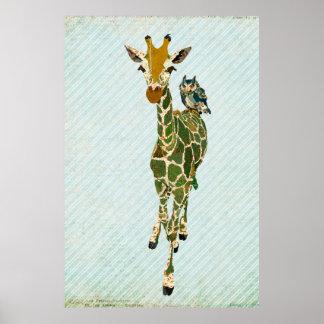 Poster del arte de la jirafa y del búho del jade
