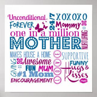 Poster del arte de la palabra de la madre