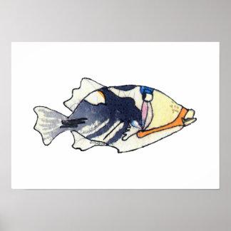 Poster del arte de la pared del Triggerfish de la