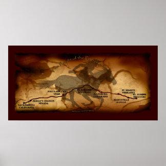 Poster del arte de la ruta del mapa de los E.E.U.U