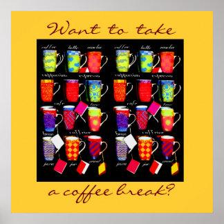 Poster del arte de la taza del argot del café