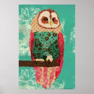Poster del arte de la turquesa del búho de Rosa de