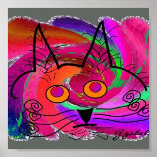 Poster del arte de los amantes del gato--Gato abst