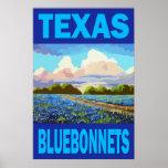 Poster del arte de los Bluebonnets de Tejas